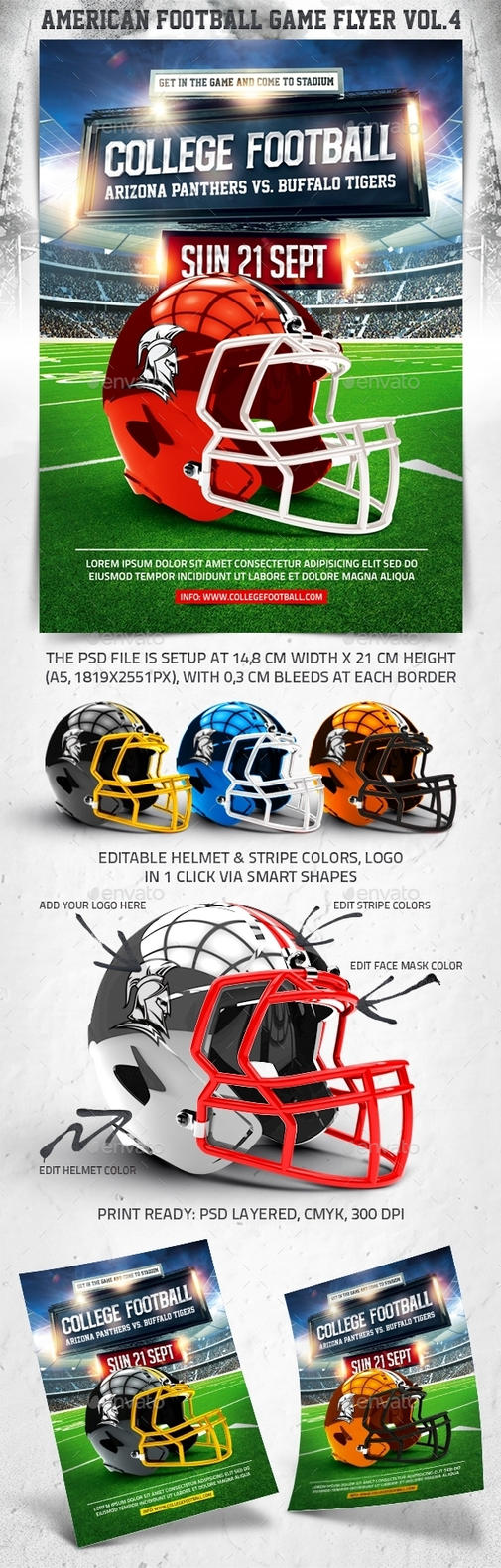 American Football Game Flyer vol.4, PSD Template by 4ustudio