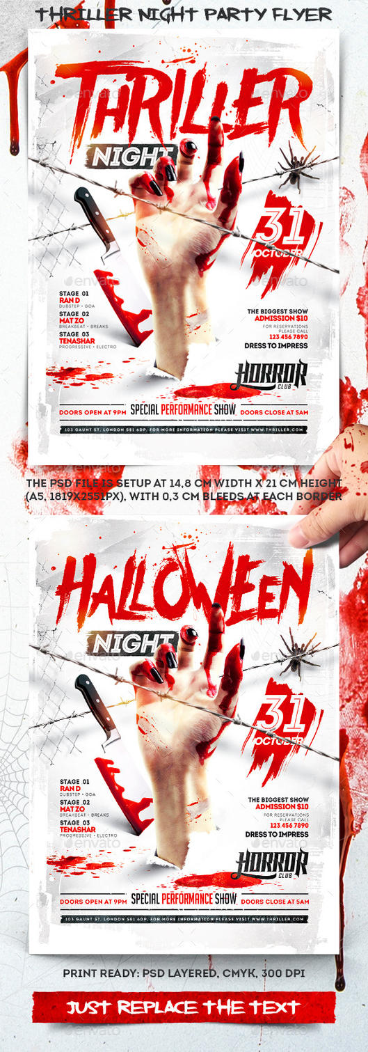 Thriller Night Party Flyer by 4ustudio