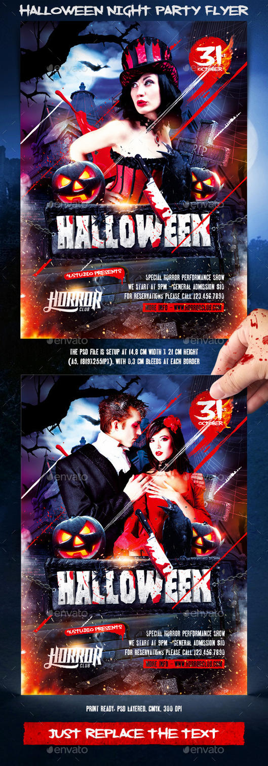 Halloween Night Party Flyer by 4ustudio