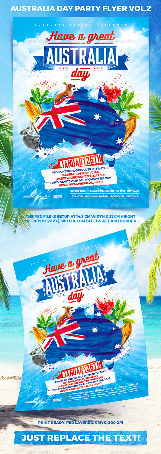 australia day party flyer vol 2 by 4ustudio on deviantart
