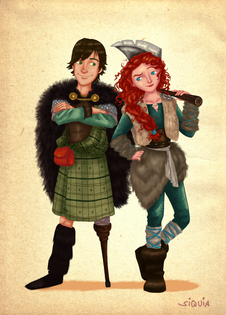 Prince Hiccup and the Viking Merida by siquia