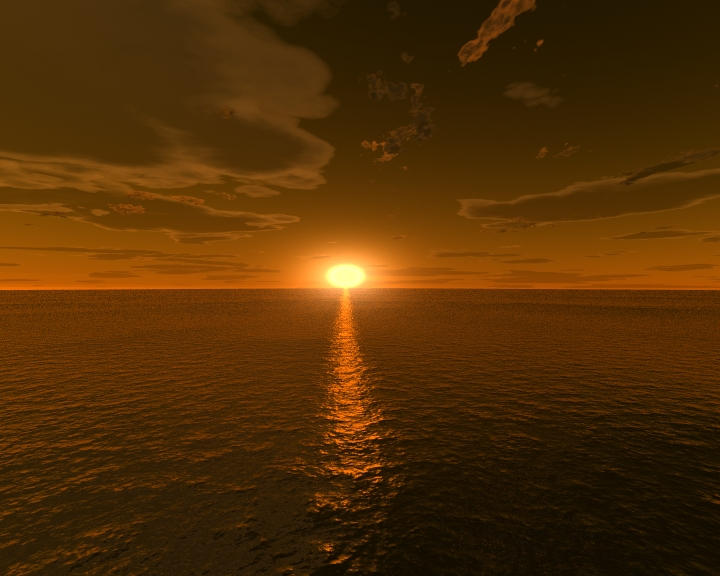 Calm Ocean Sunset-Lightwave 7 by TigerNightHawk