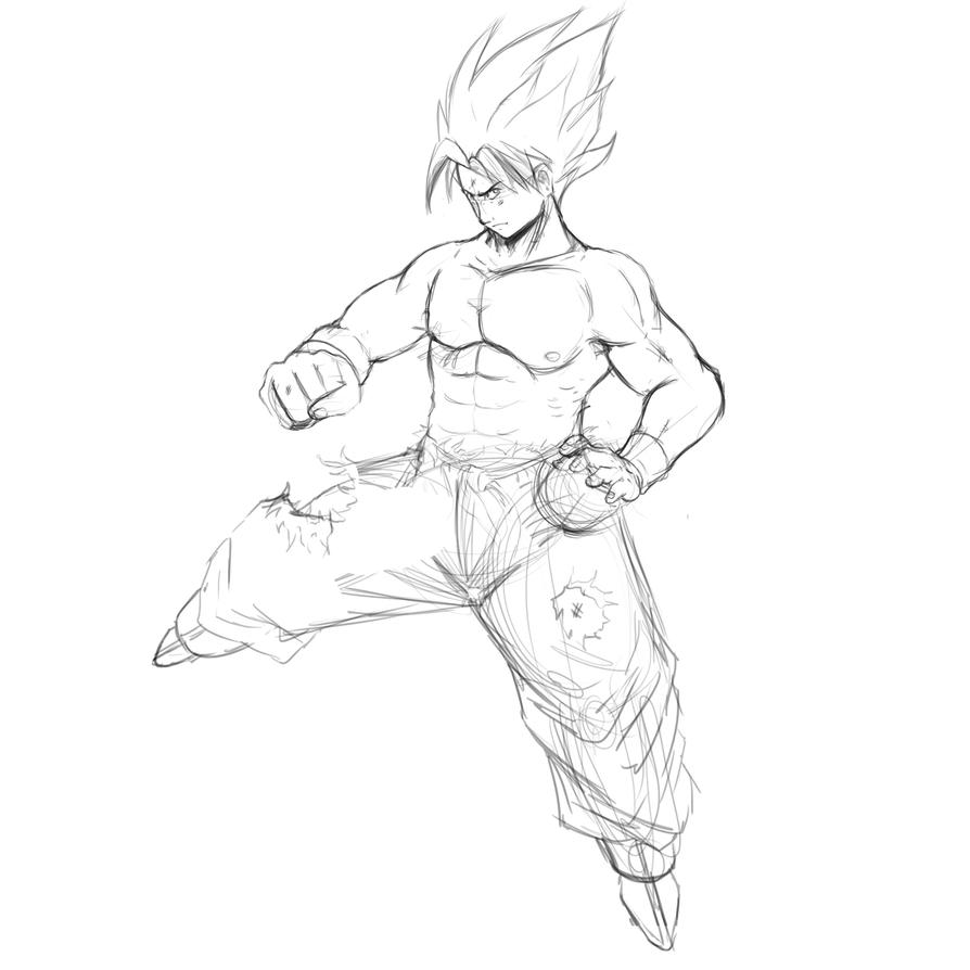 son goku ssj sketch by EarthsSaviorSonGoku