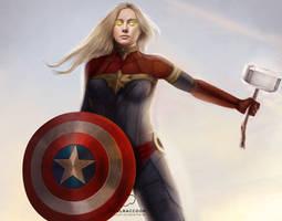 Brie Larson as Captain Marvel by bruuninferreira