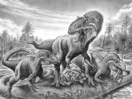 Yutyrannus on Dongbeititan by PaleoPastori