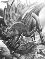 Allosaurus vs Stegosaurus by PaleoPastori