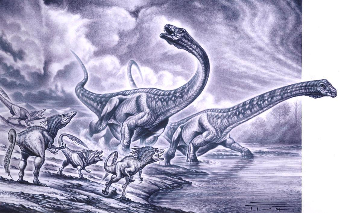 Dreadnoughtus schrani - Orkoraptor burkei by PaleoPastori