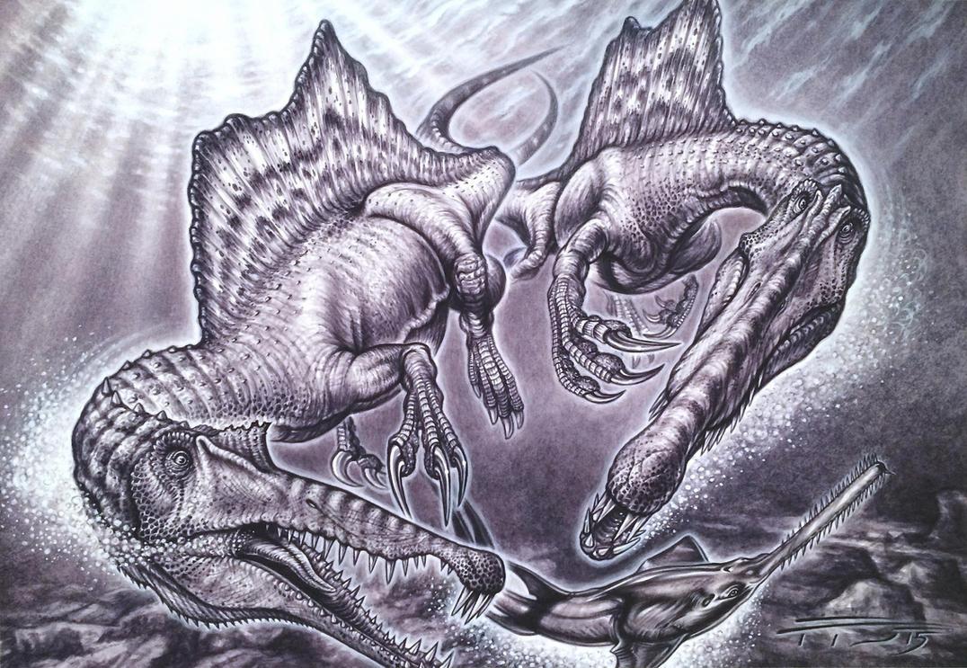 Spinosaurus aegyptiacus pair on Onchopristis prey by PaleoPastori