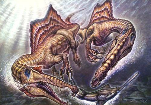 Spinosaurus aegyptiacus pair on Onchopristis prey