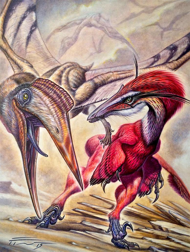 Austroraptor cabazai vs Aerotitan sudamericanus by PaleoPastori