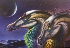 Velocitaptor mongoliensis pair by PaleoPastori