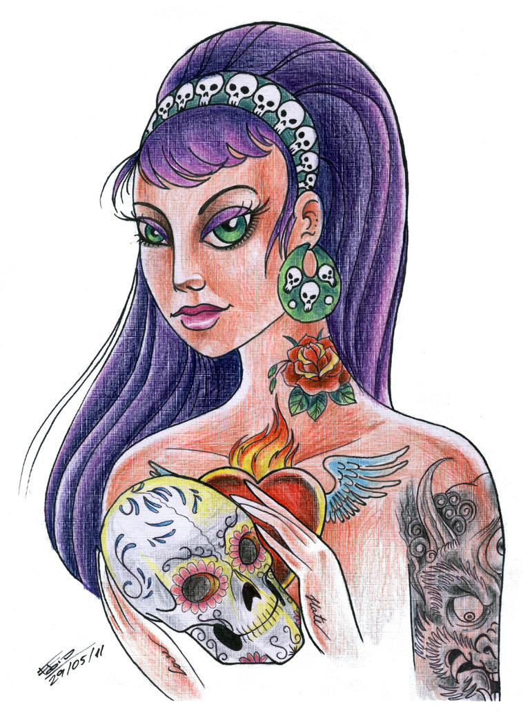 Tattooed Girl Pin Up by fafinhotattoo