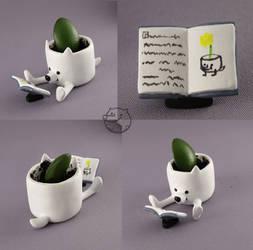 dogfaced flowerpot by CadaverCrafts