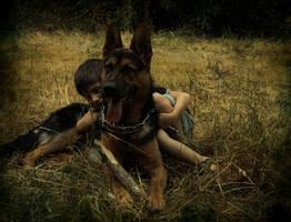 German Sheperd dog and a boy by Saphiregirl79