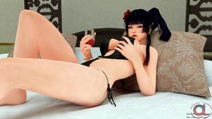 Nyotengu swimwear sexy pose 3D render by Olibuz