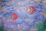 Sea life - EBRU, paper marbling by YakuzaKuroi