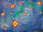 Flowers 1 - EBRU, paper marbling by YakuzaKuroi