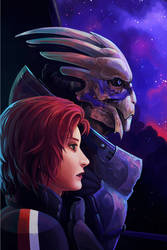 Shepherd and Garrus by H0lyhandgrenade
