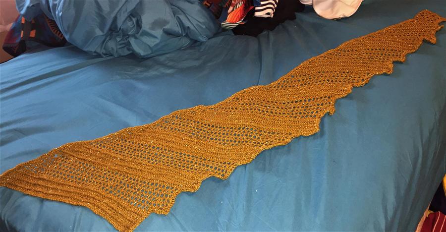 Golden Dragon Wing Crocheted Shawl by Sagittarianism
