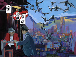Morning coffee. Godzilla and pigeons. by KlementinaMoonlight