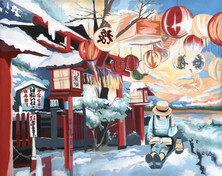 Winter Japan. Meditation.