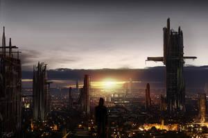 Sci-fi city by firefly2347