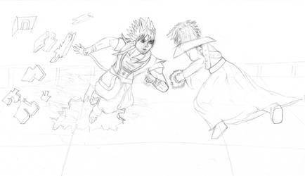 Nexus vs Leotaku: Pt1 - Sketch by CloneWarrior