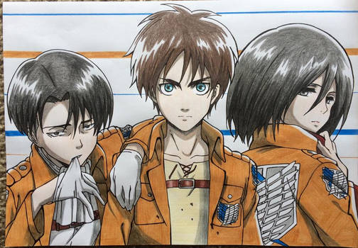 Levi, Eren and Mikasa