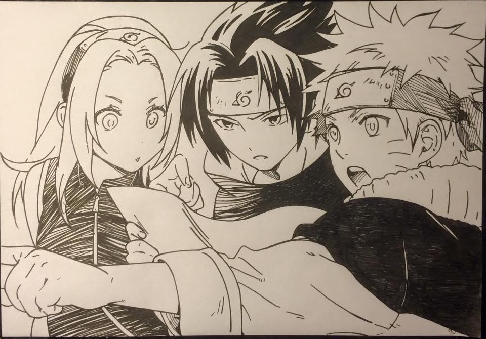 Sasuke Lineart : Sakura sasuke and naruto by karina o e on deviantart