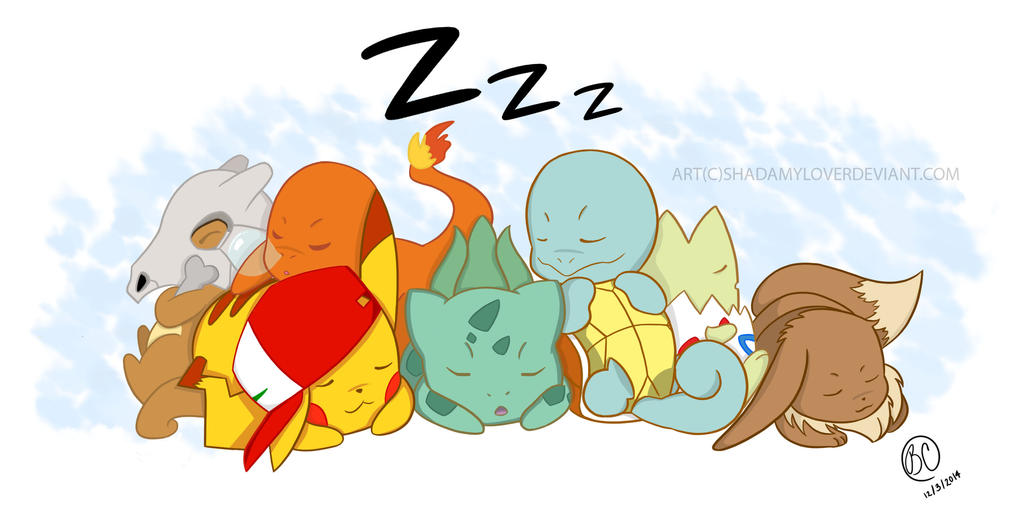 Pokemon Sleeping  by RockOletShadAmylover