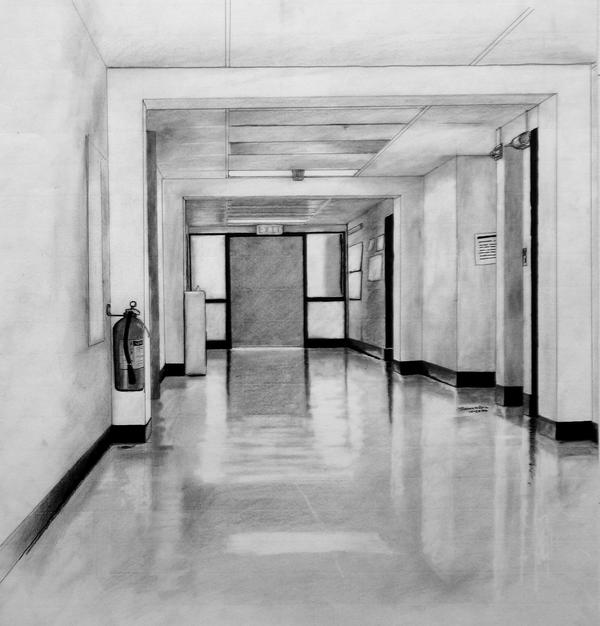how to draw a 3d hallway