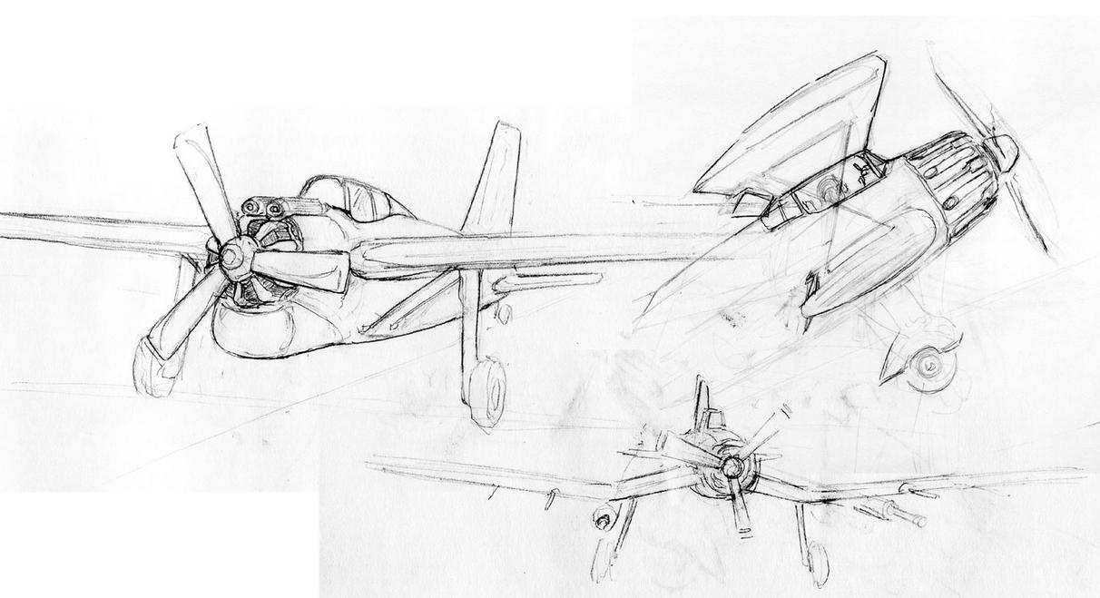 Prop plane sketches by Pyrosity
