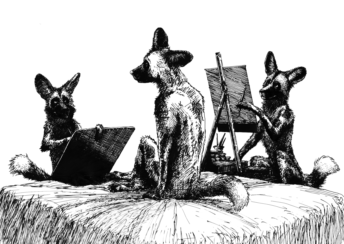 Painted Dogs Painting by Pyrosity