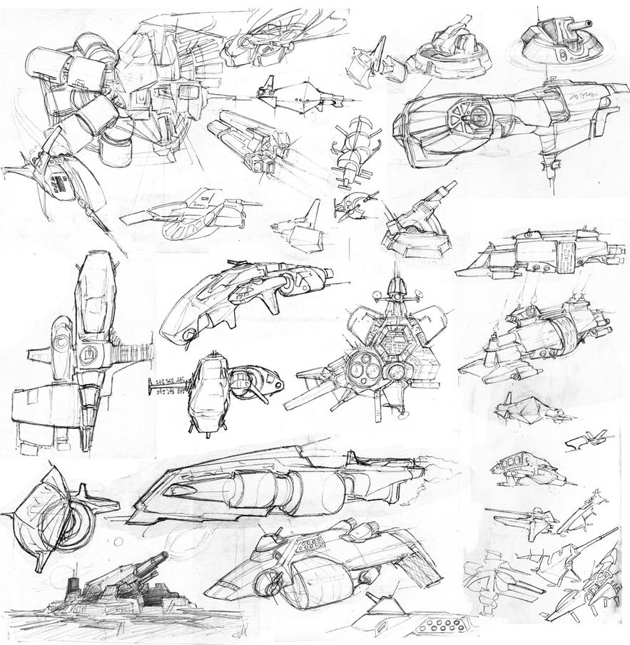 Ship sketches by Pyrosity