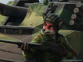 Commission - Foxy and CV9030 [Detail] by Pyrosity