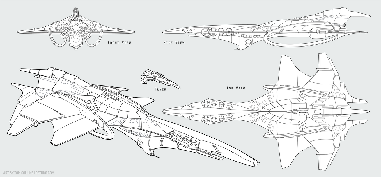 Commission - Ship Design (Lines) by Pyrosity