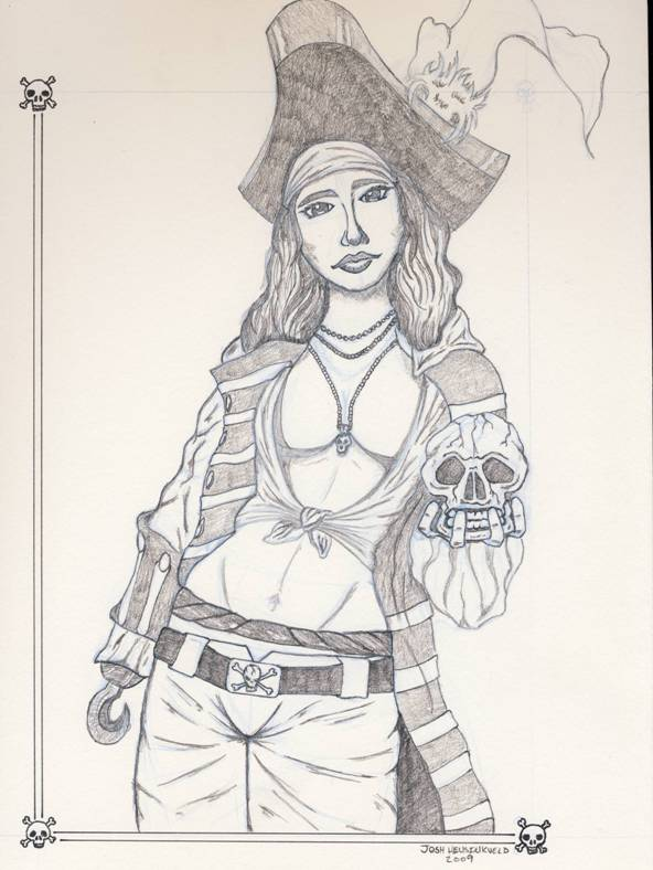 Female pirate drawing - photo#2