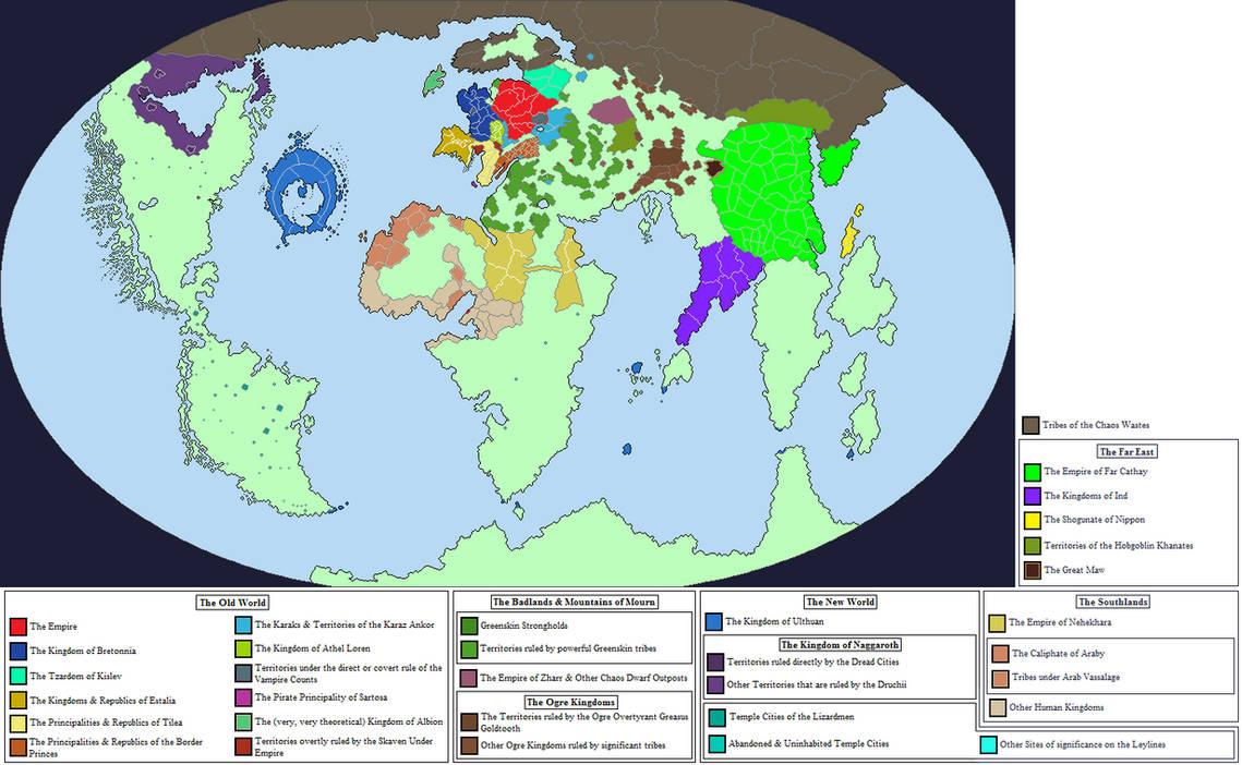 Warhammer World Map By Zanzibar With Nations By Royalpsycho On