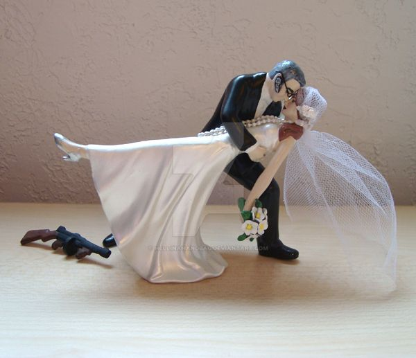 Retro 20s Wedding Cake Topper with a Modern Twist by hellinahandbag