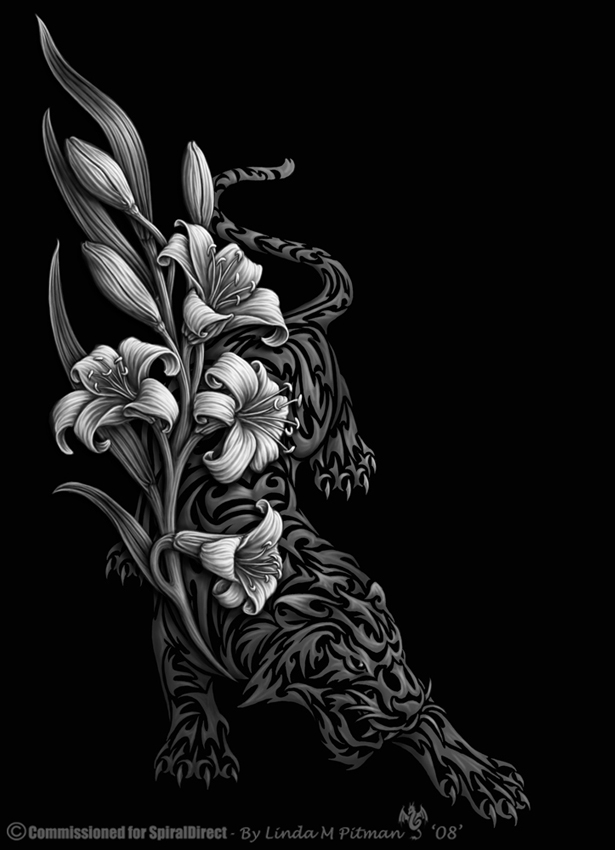 Tiger lily tribal by sheblackdragon on deviantart for Dragon lily tattoo