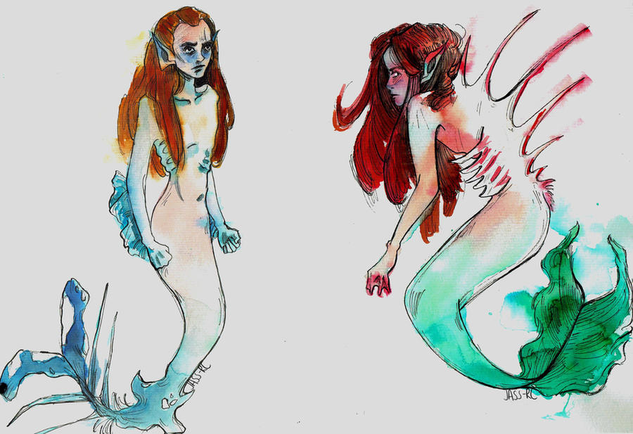 Mermaid sketches by jass-rc
