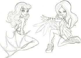 Siren and Harpy by crimsonfox69