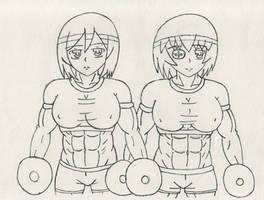 Lineart Mikasa and Tsubame Kamoi