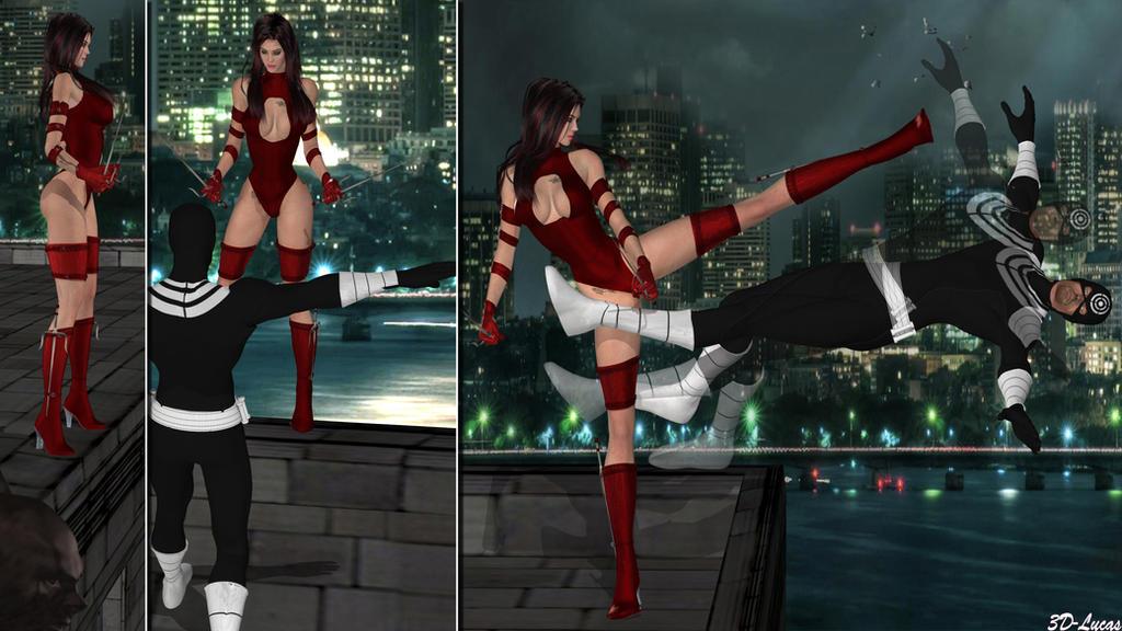 Elektra Vs Bullseye by 3d-lucas