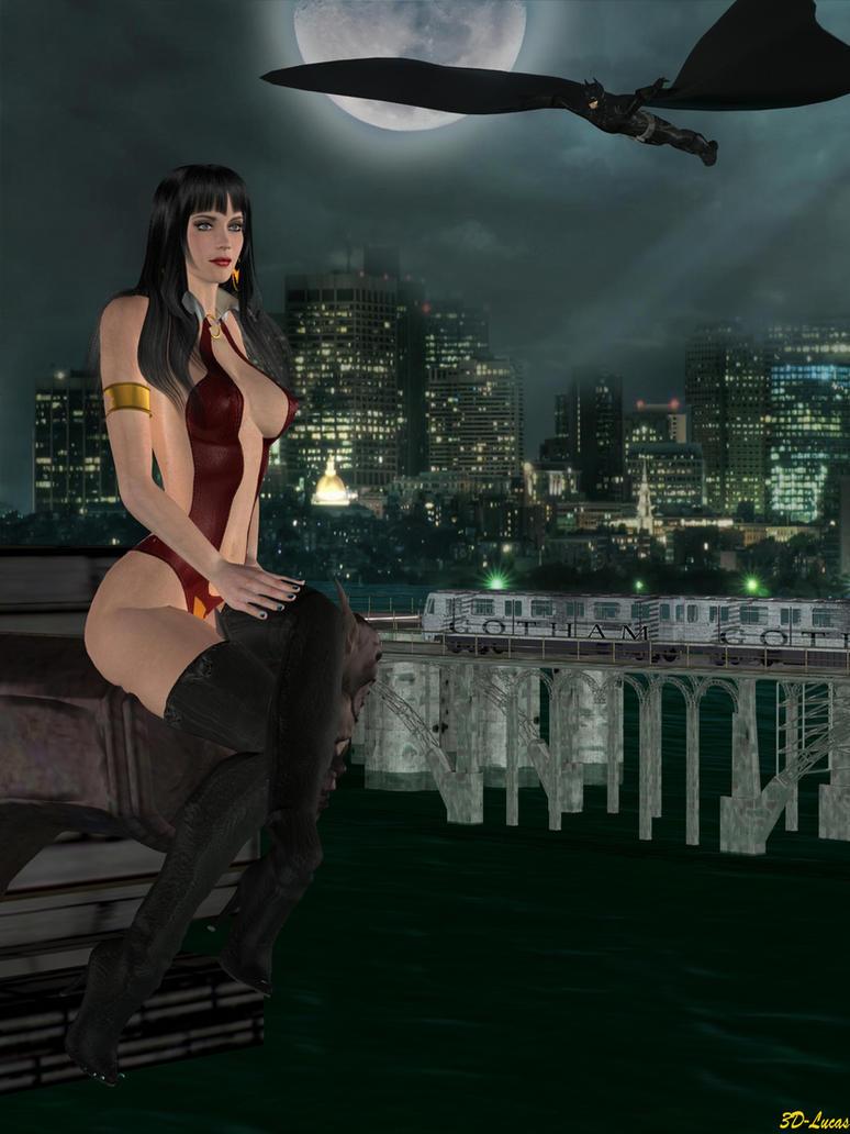 Vampirella visits Gotham City by 3d-lucas