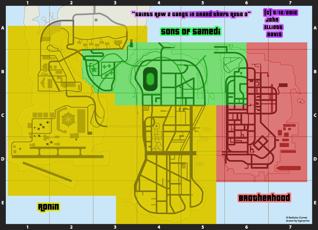 Saints Row 2 Gangs in GTA 3 - Map by LittleGreenGamer on