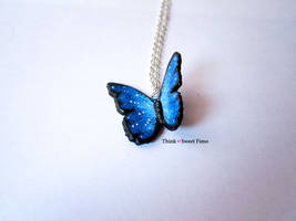 Blue Butterly Necklace. by ThinkSweet