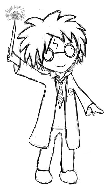 Line Drawing Harry Potter : Harry potter lineart by xcattasticx on deviantart