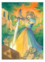 Zelda pulls the Master Sword