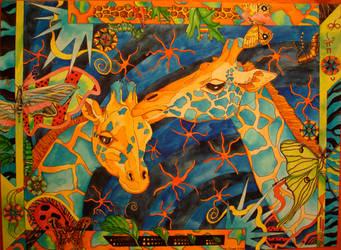 Giraffes for Isabelle by JessieLucidArt